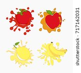 lemon  tomato  apple  banana... | Shutterstock .eps vector #717162031