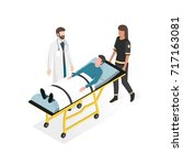first aid at the hospital ... | Shutterstock .eps vector #717163081