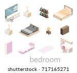 modern bedroom design in... | Shutterstock . vector #717165271