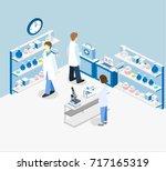 isometric flat 3d concept... | Shutterstock . vector #717165319