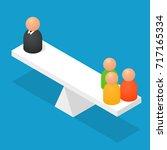people balancing on geometric... | Shutterstock .eps vector #717165334