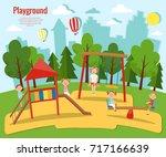 children's playground vector... | Shutterstock .eps vector #717166639