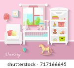 flat design. baby room with a ... | Shutterstock .eps vector #717166645