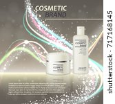 3d realistic cosmetic bottle... | Shutterstock .eps vector #717168145