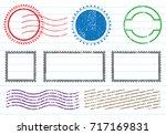 blank postal stamps set... | Shutterstock .eps vector #717169831