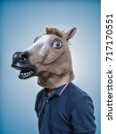 Stock photo horse head mask portraiture 717170551