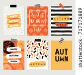 a set of six abstract autumn... | Shutterstock .eps vector #717171889