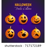 a set of realistic pumpkins.... | Shutterstock .eps vector #717172189