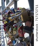 Small photo of Massive amount of love locks in a close up