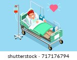 patient in hospital bed with... | Shutterstock .eps vector #717176794