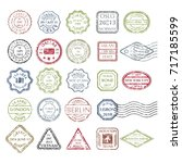 colored grungy postal stamps... | Shutterstock .eps vector #717185599