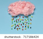 sweet pink cotton candy on a... | Shutterstock . vector #717186424