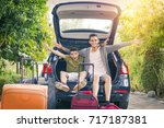 family travel with car and... | Shutterstock . vector #717187381