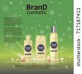 3d realistic cosmetic bottle... | Shutterstock .eps vector #717187411