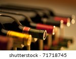 Red Wine Bottles Stacked Wooden - Fine Art prints
