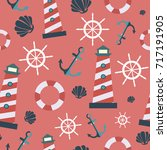 seamless pattern with sea... | Shutterstock .eps vector #717191905
