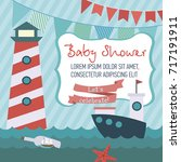 baby shower cute card with sea ... | Shutterstock .eps vector #717191911