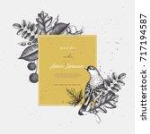 vintage card design with bird.... | Shutterstock .eps vector #717194587