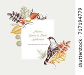 vintage card design with bird.... | Shutterstock .eps vector #717194779