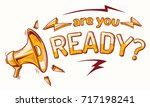 are you ready sign with... | Shutterstock .eps vector #717198241