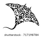 manta ray tattoo shape with... | Shutterstock .eps vector #717198784