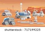 mars colonization.... | Shutterstock .eps vector #717199225