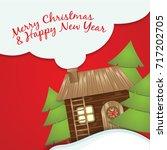 christmas greeting card. santa... | Shutterstock .eps vector #717202705