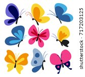 hand drawn butterflies set | Shutterstock .eps vector #717203125