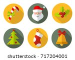 christmas icons and symbols.... | Shutterstock .eps vector #717204001