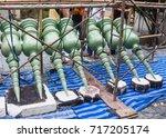 installation work to top pagoda ... | Shutterstock . vector #717205174