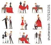 dressmaker set  male designer... | Shutterstock .eps vector #717212131