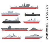 different types of naval combat ... | Shutterstock .eps vector #717212179