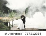 kissing wedding couple staying... | Shutterstock . vector #717212395