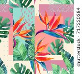 abstract tropical summer design ... | Shutterstock . vector #717220384