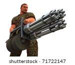 Digital render of cigar smoking fantasy soldier with huge Gatling gun style weapon