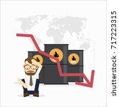 business man sit down oil... | Shutterstock .eps vector #717223315
