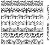 set of seamless ornate brushes | Shutterstock .eps vector #717225991