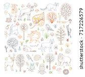 Vector Set Of Outlined Autumn...