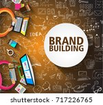 brand building concept with... | Shutterstock .eps vector #717226765