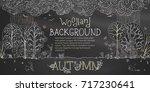 vector woodland autumn... | Shutterstock .eps vector #717230641