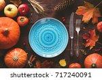 autumn halloween or... | Shutterstock . vector #717240091