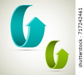 two curved circle arrow ribbon. ... | Shutterstock .eps vector #717242461
