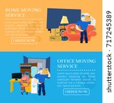 moving service guy with... | Shutterstock .eps vector #717245389