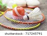 shuttlecock and apple  in... | Shutterstock . vector #717245791