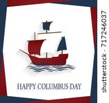 columbus day poster with... | Shutterstock .eps vector #717246037