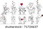 set of wedding pictures  bride... | Shutterstock .eps vector #71724637