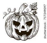 halloween pumpkin engraving... | Shutterstock . vector #717249097