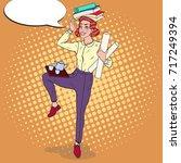 pop art multitasking business... | Shutterstock .eps vector #717249394