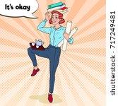 pop art multitasking business... | Shutterstock .eps vector #717249481