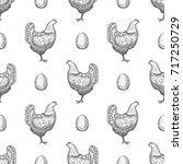 chicken hand drawn seamless... | Shutterstock .eps vector #717250729